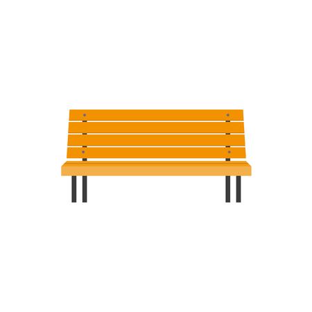 Gestileerde vlakke stijl houten parkbank, vooraanzichtillustratie die op witte achtergrond wordt geïsoleerd. Vlakke stijl houten bank, stedelijk element, vooraanzichtillustratie