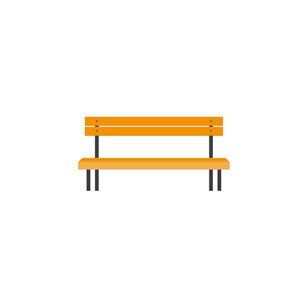 Stylized flat style wooden park bench, front view. Illustration on white background.