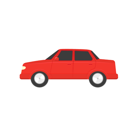 Flat style red sedan car, automobile icon, side view. Illustration isolated on white background.