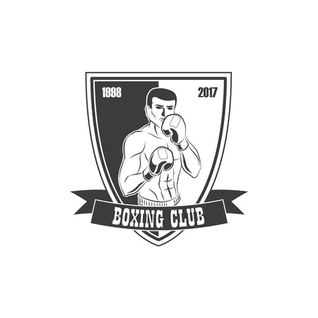 Vector boxing club logo, brand icon with muscular strong handsome man bare torso and chest in boxing stand with box gloves black and white. Isolated illustration on a white background.