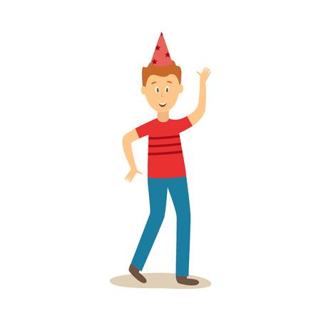 ベクトル漫画面白い若い白人男性パーティー帽子、カジュアルな服とデニムジーンズが手を振って踊ります。白い背景にイラストを使用します。  イラスト・ベクター素材