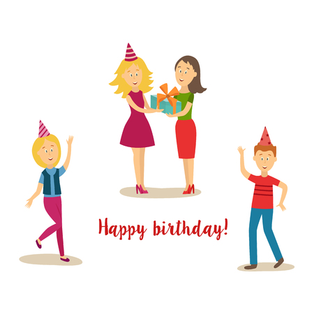 Vector cartoon birthday party scenes set. man and girl in party hat having fun dancing, girl presenting present box to woman in pink dress. Illustration on a white background.