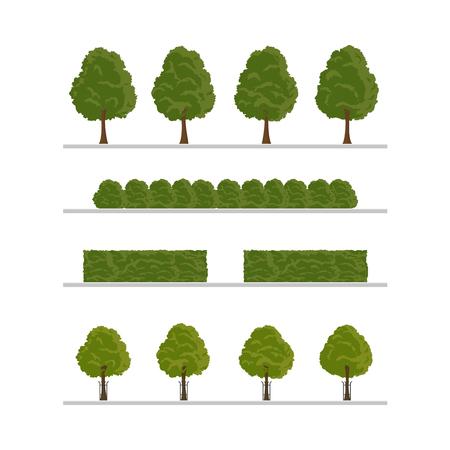 Ensemble d'arbres de la ville, bush, éléments de décoration de haie. Illustration de style plat sur fond blanc. Collection d'éléments d'arbres verts, de buissons et de haies.