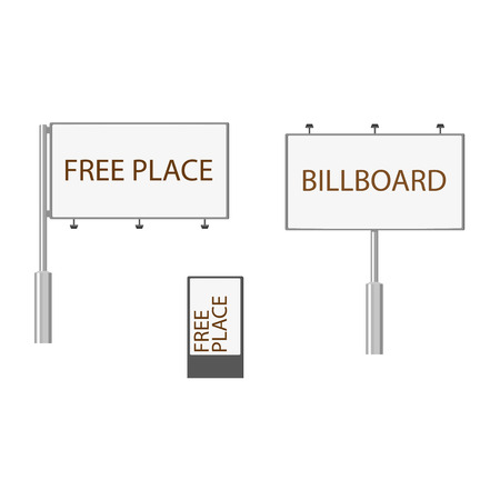 Set of three various billboards, advertising structures. Flat style illustration on white background.