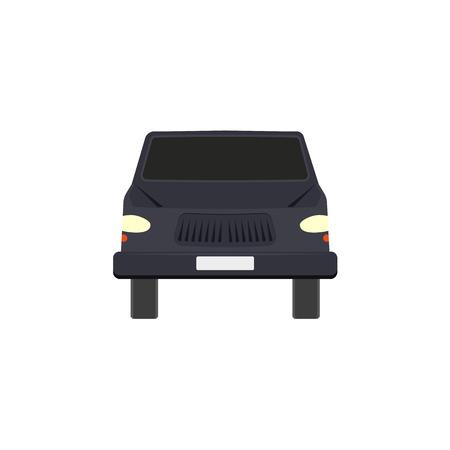 Flat style black sedan car, automobile icon, front view, Illustration isolated on white background.
