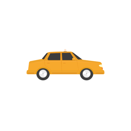 Flat style sedan car, automobile icon, side view. Illustration isolated on white background.