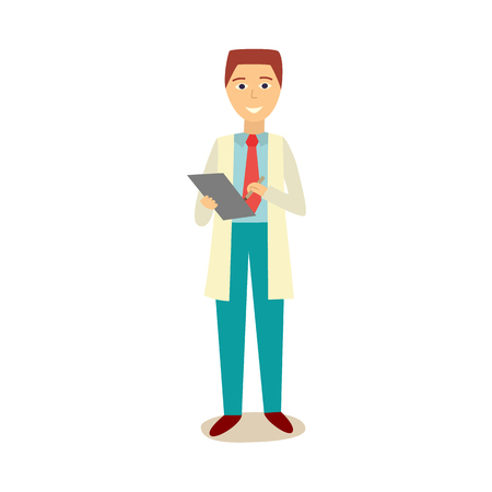 Male manager in white robe, work suit and red necktie holding clipboard, pen, Young adult man character, car service complaints manager Isolated flat illustration.