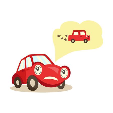 Auto met ogen die zich over mogelijke problemen met motor en uitlaatsysteem ongerust maken die eraan denken met negatieve emotieillustratie.