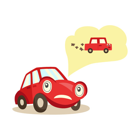 Car with eyes worrying about possible problems with engine and exhaust system thinking about it with negative emotion illustration. 向量圖像