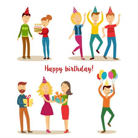 Birthday party scenes set, man in party hat whistling holding air balloons, girl in dress and boy giving big present box to excited woman, people dancing, girl presenting birthday cake.