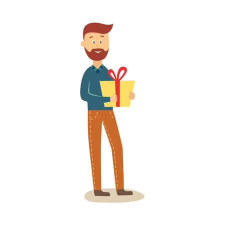 Full length portrait of funny men standing with present box on birthday party. Illustration