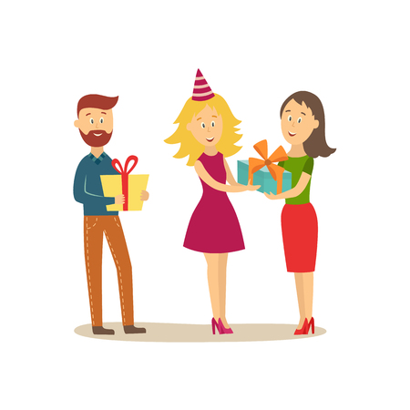 Young people, man and woman, giving presents, gifts to birthday girl.