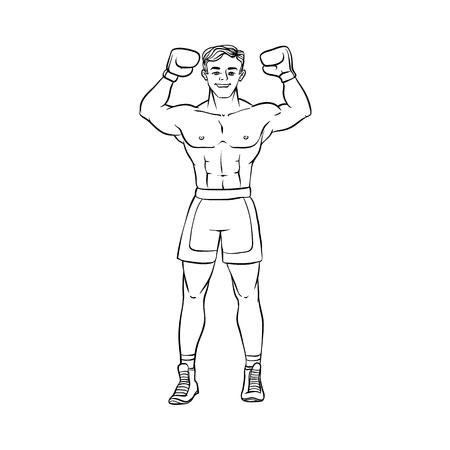 Cartoon muscular strong handsome boxer man.