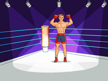Young, handsome Caucasian male boxer standing on boxing ring.