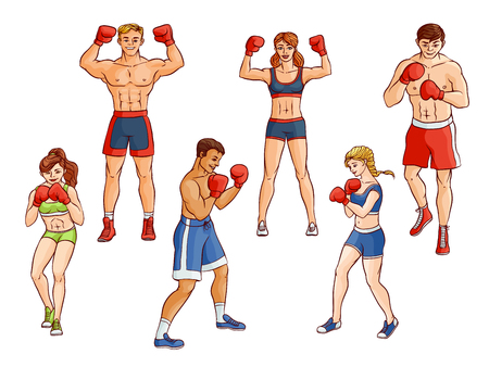 Cartoon muscular strong cute beautiful woman, girl and handsome man stand in different poses with red boxing gloves. Vettoriali