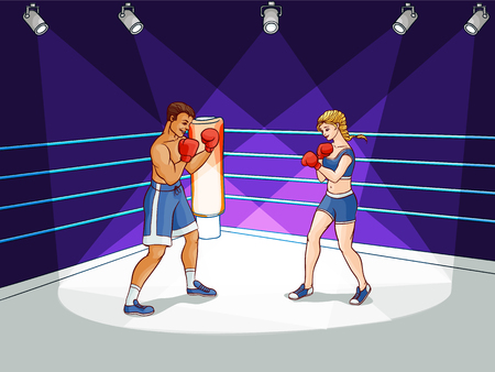 Two happy boxers, man and woman, boxing fighting on the ring, in spotlight, hand-drawn cartoon illustration.