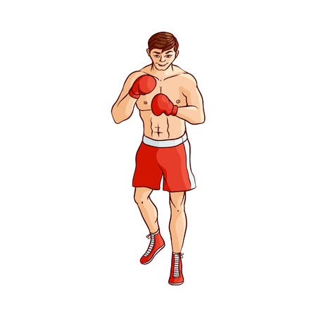 Male boxer in boxing gloves Illustration