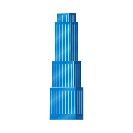 ●青い建物イラスト。  イラスト・ベクター素材