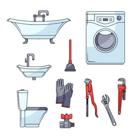 Plumbing Set   Bathtub, Toilet Bowl, Sink, Washing Machine, Plumber Tools,