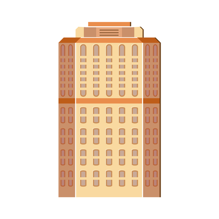 Modern, contemporary layered skyscraper, high rise building, flat illustration.  イラスト・ベクター素材