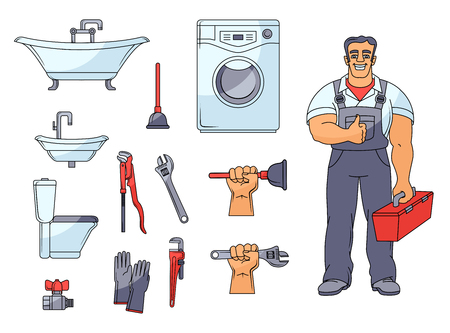 Plumber and plumbing set - bathtub, toilet bowl, sink, washer, tools, rubber gloves, plunger, cartoon illustration.