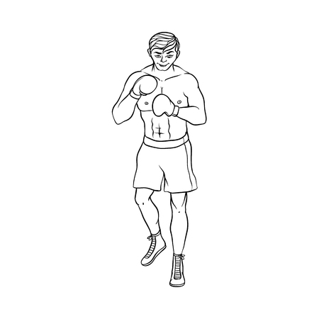 Young Caucasian male boxer in boxing gloves.