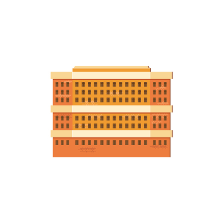 Modern, contemporary layered  high rise building, flat illustration.  イラスト・ベクター素材