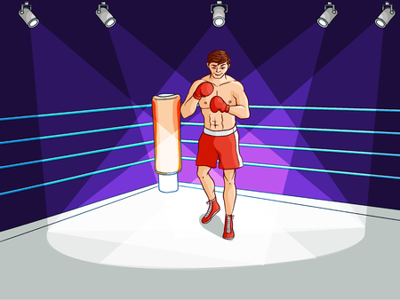 Cartoon muscular strong boxer in the ring.