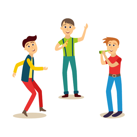 Boys, men, friends having fun at birthday party, dancing, eating pizza, blowing whistle. Cartoon illustration on white background. 向量圖像