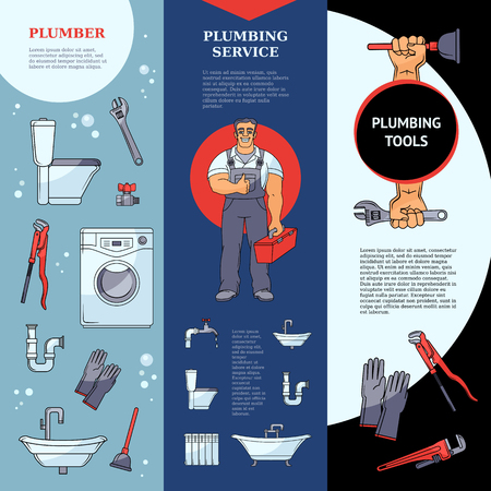 Set of three vertical plumbing services banners with plumber, tools and sanitary equipment, place for text. Set of vertical plumbing banner designs showing services, tools and a figure of male plumber