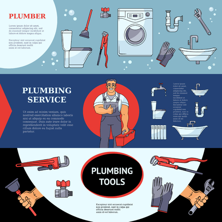 Set of horizontal plumbing services banners with plumber, tools and sanitary equipment, place for text. Set of horizontal plumbing banner designs showing services, tools and a figure of male plumber Illustration