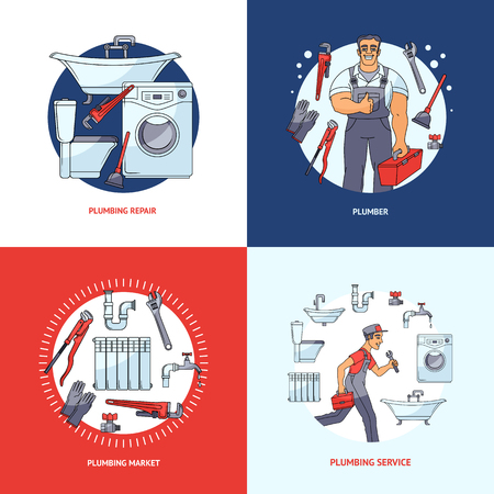Set of four square banner, logo, poster design with plumber, tools and sanitary equipment. Set of square plumbing banner designs showing services, tools, standing and running plumber in circles