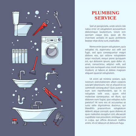 Plumber tools and place for text. Cartoon illustration plumbing services poster template. Ilustração