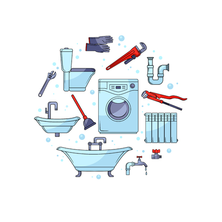 Plumbing tools set. Cartoon illustration on white background. Plumbing tools and sanitary equipment.