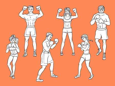 Set of boxers, men and women, standing in boxing position, posing and training, black and white hand drawn cartoon vector illustration. Set of uncolored male and female boxers, standing and fighting