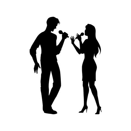 Retrato completo do comprimento, figuras do homem e da mulher que cantam com microfones, silhueta preta do vetor isolada no fundo branco. Silhuetas negras de homem e mulher cantando juntos