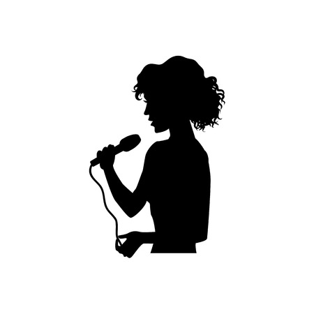 Half length portrait, figure of beautiful woman singing with microphone, black vector silhouette isolated on white background. Black silhouette of beautiful singing woman, girl, half length portrait