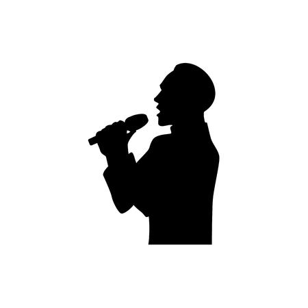 Half lengteportret, cijfer van de knappe mens die met microfoon, zwart vectorsilhouet zingen dat op witte achtergrond wordt geïsoleerd. Zwart silhouet van de zingende man, halflang portret