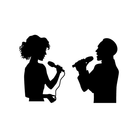 Half length portrait, figures of man and woman singing with microphones, black vector silhouette isolated on white background. Black silhouettes of man and woman singing together