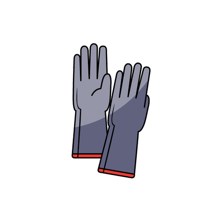 Pair of grey protective rubber gloves, hand drawn cartoon vector illustration isolated on white background. Grey protective rubber gloves for doing household chore, repair and maintenance work