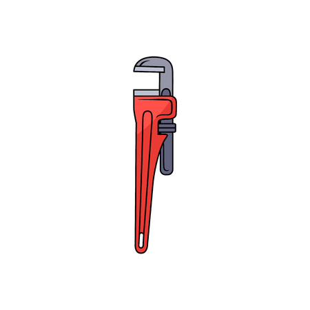 Red pipe wrench, spanner, plumber tool, hand drawn cartoon vector illustration isolated on white background. Drawing of traditional pipe wrench, spanner, plumbing tool