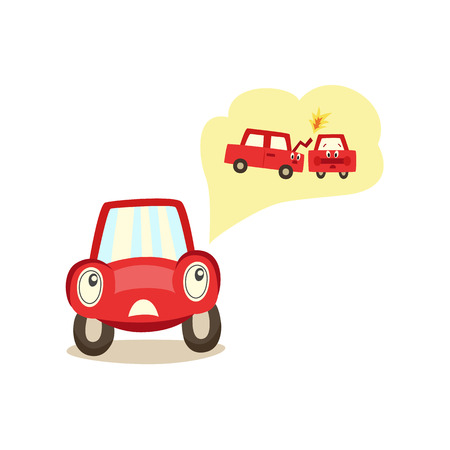 Cartoon car with eyes worrying Illustration