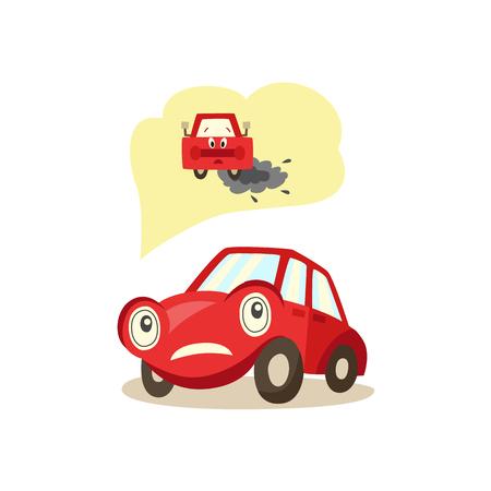 Cartoon auto met zorgen over de ogen