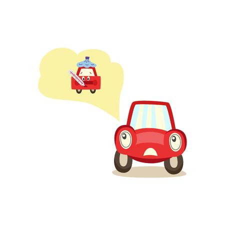 Cartoon auto met ogen zorgen te maken over mogelijke problemen.