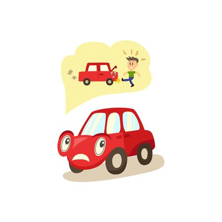Cartoon auto met ogen zorgen te maken over mogelijke problemen met motor en eigenaren. Stock Illustratie