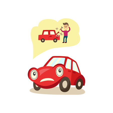 vector cartoon car with eyes worrying about possible problems with engine and owners angry reaction trying to fix it thinking about it with negative emotion. Isolated illustration on white background.
