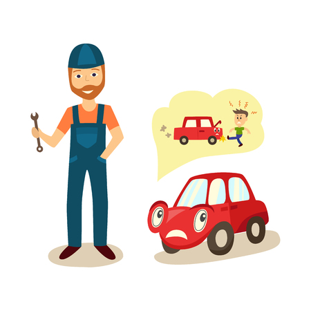 vector cartoon car with eyes worrying about possible problems with engine and owners angry punching reaction thinking about it with negative emotion and mechanic with wrench. Isolated illustration Illustration