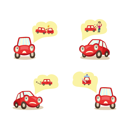 vector car worrying about possible road accidents set. Crashing with another car, engine , exhaust system breakdown, angry owner, thinking about it experessing negative emotion. Isolated illustration