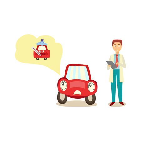 vector cartoon car with eyes worrying about possible problems with health thinking about temperatyure measurement with negative emotion, service manager with clipboard. Isolated illustration Illustration