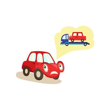 Het droevige karakter van de beeldverhaalauto vertellen van inbeslagneming door sleepwagen, vectordieillustratie op witte achtergrond wordt geïsoleerd. Triest stripfiguur auto klagen over inbeslagname door sleepbaan, schaamte voelen